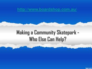 making a community skatepark - who else can help?