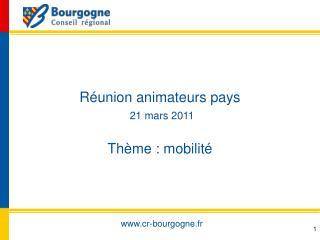 R union animateurs pays  21 mars 2011  Th me : mobilit