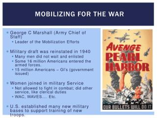 Mobilizing for the War