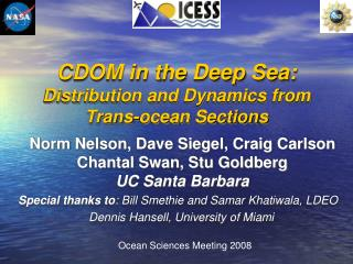 CDOM in the Deep Sea: Distribution and Dynamics from Trans-ocean Sections