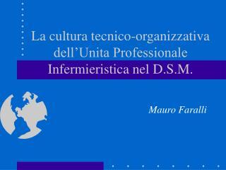 La cultura tecnico-organizzativa dell Unita Professionale Infermieristica nel D.S.M.