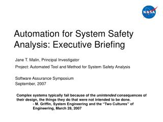 Automation for System Safety Analysis: Executive Briefing