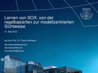 Lernen von SOX: von der regelbasierten zur modellzentrierten Sichtweise