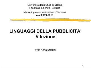 LINGUAGGI DELLA PUBBLICITA  V lezione