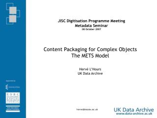 JISC Digitisation Programme Meeting Metadata Seminar 08 October 2007