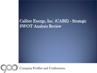 Calibre Energy, Inc. (CABE) - Strategic SWOT Analysis Revie