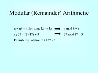 Modular Remainder Arithmetic