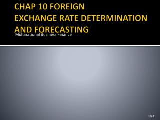 CHAP 10 FOREIGN  EXCHANGE RATE DETERMINATION AND FORECASTING