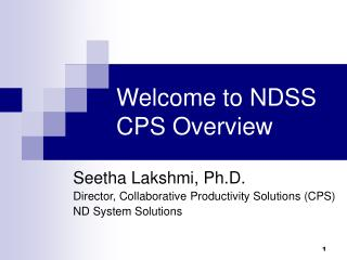 Welcome to NDSS CPS Overview