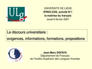 Jean-Marc DEFAYS D partement de Fran ais de l Institut Sup rieur des Langues Vivantes