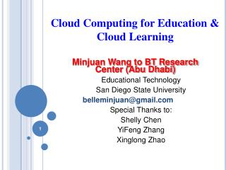 Cloud Computing for Education  Cloud Learning
