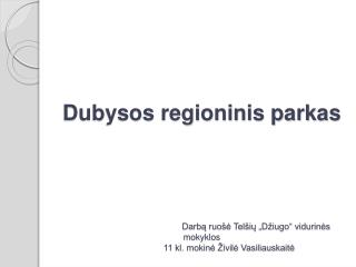 Dubysos regioninis parkas                                                    Darba ruo e Tel iu  D iugo  vidurines mokyk