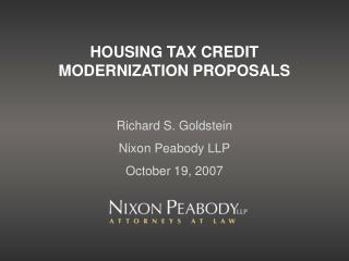 HOUSING TAX CREDIT MODERNIZATION PROPOSALS