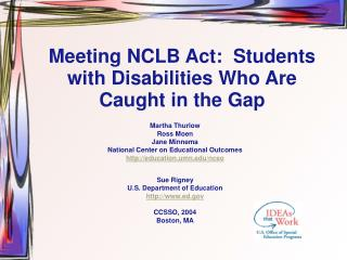Meeting NCLB Act:  Students with Disabilities Who Are Caught in the Gap