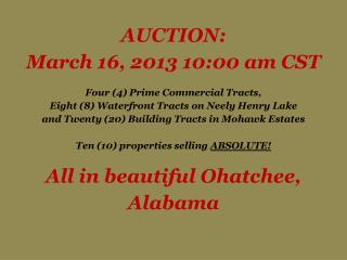 AUCTION: March 16, 2013 10:00 am CST    Four 4 Prime Commercial Tracts,  Eight 8 Waterfront Tracts on Neely Henry Lake a