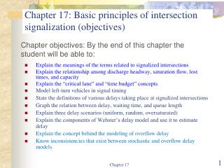 Chapter 17: Basic principles of intersection signalization objectives