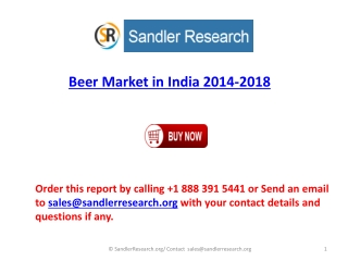 2018 Beer Industry in India Analysis and Forecast