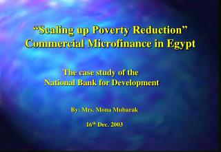Scaling up Poverty Reduction  Commercial Microfinance in Egypt