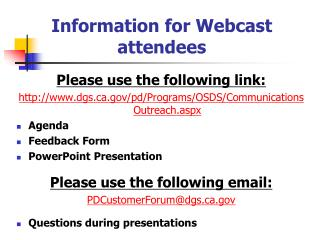 Information for Webcast attendees