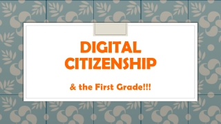 Digital Citizenship for First Grade