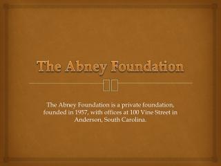 SUSIE MATHEWS ABNEY and ASSOCIATES FOUNDATION Application