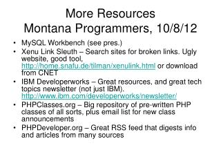 More Resources Montana Programmers, 10