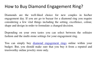 How to Buy Diamond Engagement Ring?