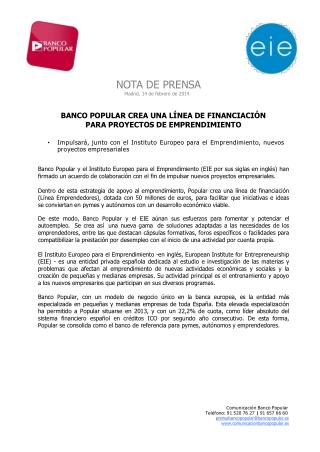 Ángel Ron y Banco Popular crean una línea de financiación