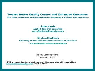 Toward Better Quality Control and Enhanced Outcomes:  The Value of Nuanced and Comprehensive Assessment of Match Charact
