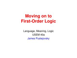 Moving on to First-Order Logic