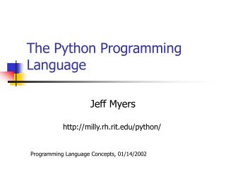The Python Programming Language