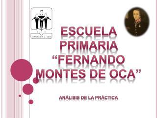 Escuela primaria  Fernando montes de oca   An lisis de la pr ctica