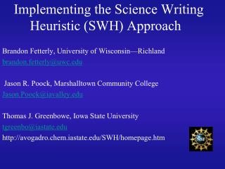 Implementing the Science Writing Heuristic SWH Approach