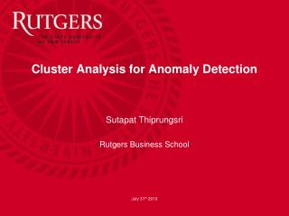Cluster Analysis for Anomaly Detection