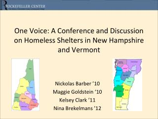 One Voice: A Conference and Discussion on Homeless Shelters in New Hampshire and Vermont
