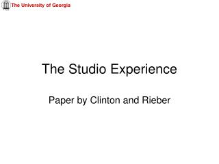 The Studio Experience