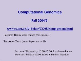 Computational Genomics  Fall 2004
