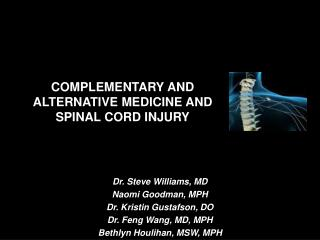 complementary and alternative medicine and spinal cord injury