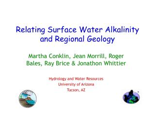 Relating Surface Water Alkalinity and Regional Geology