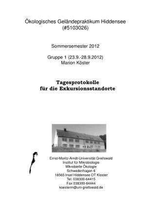 kologisches Gel ndepraktikum Hiddensee 5103026   Sommersemester 2012  Gruppe 1 23.9.-28.9.2012 Marion K ster