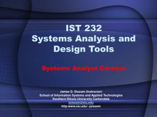 ist 232 systems analysis and design tools  systems analyst careers