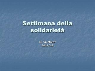 Settimana della solidariet