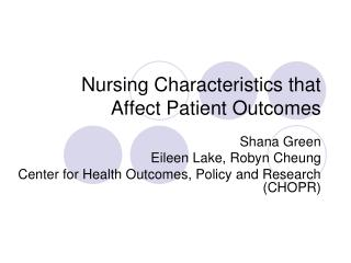 nursing characteristics that affect patient outcomes