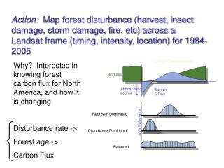 Action:  Map forest disturbance harvest, insect damage, storm damage, fire, etc across a Landsat frame timing, intensity