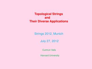 Topological Strings                     and     Their Diverse Applications