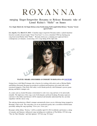 Emerging Singer-Songwriter Roxanna to Release Romantic take