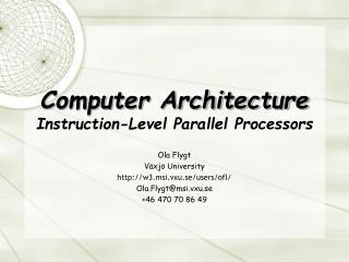 Computer Architecture Instruction-Level Parallel Processors