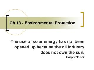 Ch 13 - Environmental Protection