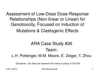 Assessment of Low-Dose Dose-Response Relationships Non-linear or Linear for Genotoxicity, Focused on Induction of Mutati