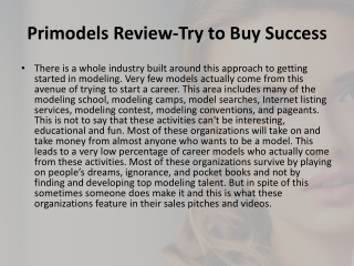 Primodels Review-Try to Buy Success